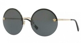 New Auth Versace Round Gold Medusa Sunglasses 2176 1252/4T w/CASE - Italy - $177.64