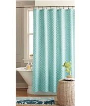 Threshold Geo Fabric Shower Curtain  Blue Green New - $22.05