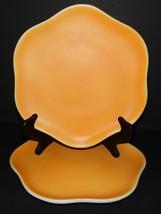 Lemons and Blossoms Cardinal Dinner Plates Stoneware Scalloped Edge Yellow - $42.56