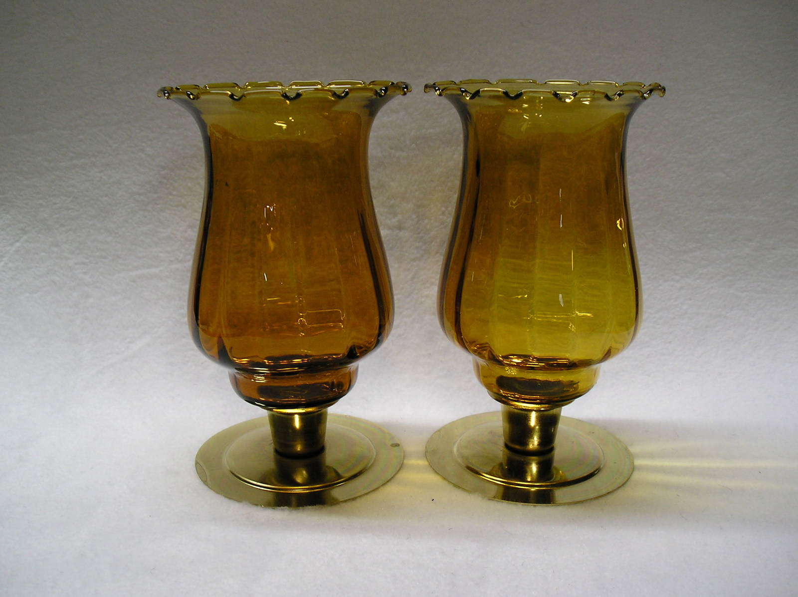 Primary image for 3 Homco 1195-1 Amber Classique Crimped Edge Peg Votive Cup Candle Holders