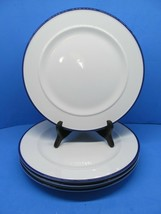 """Fitz And Floyd Everyday White Bistro Blue 11 1/8"""" Dinner Plates Set Of 4 Plates - $57.82"""