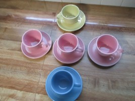 Vintage Pottery Set Of Five (5) Homer Laughlin Fiesta Cups & Saucers ~EVC~ - $27.72