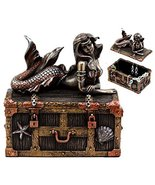 Ebros Bronzed Mermaid Nerida Resting On Sunken Treasure Jewelry Box Figu... - $32.66