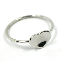 SOLID 18K WHITE GOLD HEART RING, ONDULATE, BENT SMOOTH HEART image 1