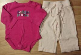 "Girl's Sz 6-9 M Month 2 Pc Pink ""Daddy's Princess"" Carter's Top, Old Nav... - $12.00"