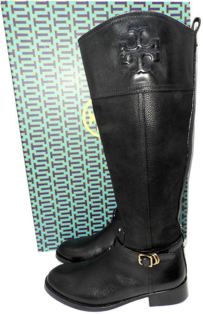 6b7b54d71af72 6727. 6727. Previous.  495 Tory Burch Simone Riding Boots Tall Flat  Equestrian Booties 7 Black Logo