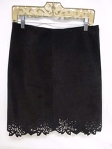 Parallel Womens Black Suede Skirt Size 6 Cut Out Design On Bottom - $29.69