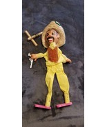 VINTAGE MEXICAN MARIONETTE PUPPET WITH PISTOL & STRAW HAT - $35.00