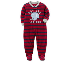 Carters Pajamas Size 2T 3T Boys Football 1 Piece Fleece Baby Toddler Paj... - $12.99