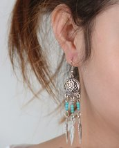 Retro National Style Earrings Female Feathers Tassel Long Earrings - $2.99