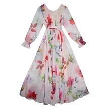 Long Sleeve Plus Size Floral Chiffon Dress Lady Maxi Long Chiffon Flower Dress   image 4
