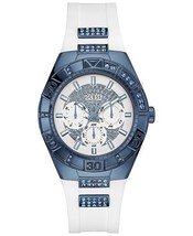GUESS U0653L2 Multifunction Blue Sporty White Silicone Strap 40mm Women's Watch - $138.59