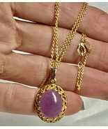 """VTG 80s Purple Oval Stone Cabochon Pendant 14KGE on Real Gold Plated 18""""... - $16.00"""