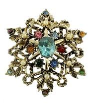 Vintage Snowflake Tutti Frutti Rhinestone Gold Tone Pin Special Designer... - $53.99