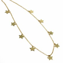 """SOLID 18K YELLOW GOLD NECKLACE WITH 7mm FLAT PENDANTS STARS, ROLO CHAIN, 18"""" image 2"""