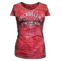MLB  Woman's  Philadelphia Phillies Distressed Tee L XL Officially Licensed NWT - $15.99