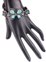 Turquoise Butterfly Bracelet Inlaid With Rhinestones - $35.59