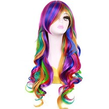 BERON New Fashion Synthetic Women Girls Sexy Long Wavy Rainbow Multi Colorful Wi