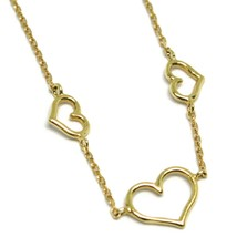 18K YELLOW GOLD SQUARE ROLO MINI BRACELET, 7.5 INCHES, 3 HEARTS, MADE IN ITALY image 2