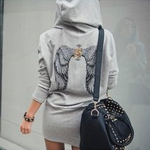 Wing Printed Hooded Sweatshirt Dress - $23.52