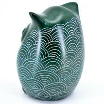 Tabaka Chigware Hand Carved Kisii Soapstone Green Owl Figurine Handmade in Kenya image 3