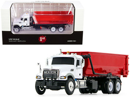 Mack Granite with Tub-Style Roll-Off Container Dump Truck White and Red 1/87 Die - $54.72