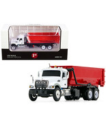 Mack Granite with Tub-Style Roll-Off Container Dump Truck White and Red 1/87 Die - $54.51