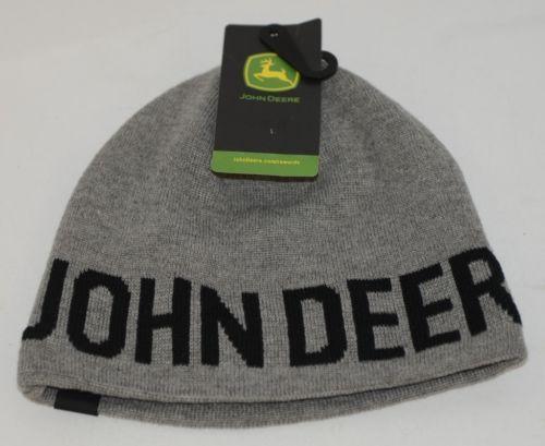 John Deere LP65536 Grey Knit Cap Black Writing Yellow Green Logo
