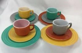 Anchor Hocking Child's Tea Set Mid Century Milk Glass Multi Colored 12 P... - $34.65