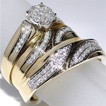 Diamond Wedding 14K Yellow Gold Over Trio His And Her Bridal Engagement ... - $148.99