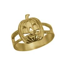 JACK-O-LANTERN Pumpkin 24K Yellow Gold Plated Ring Halloween Spooky Jewe... - $30.55