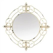 Antique White Fleur-De-Lis Round Wall Mirror - $64.08