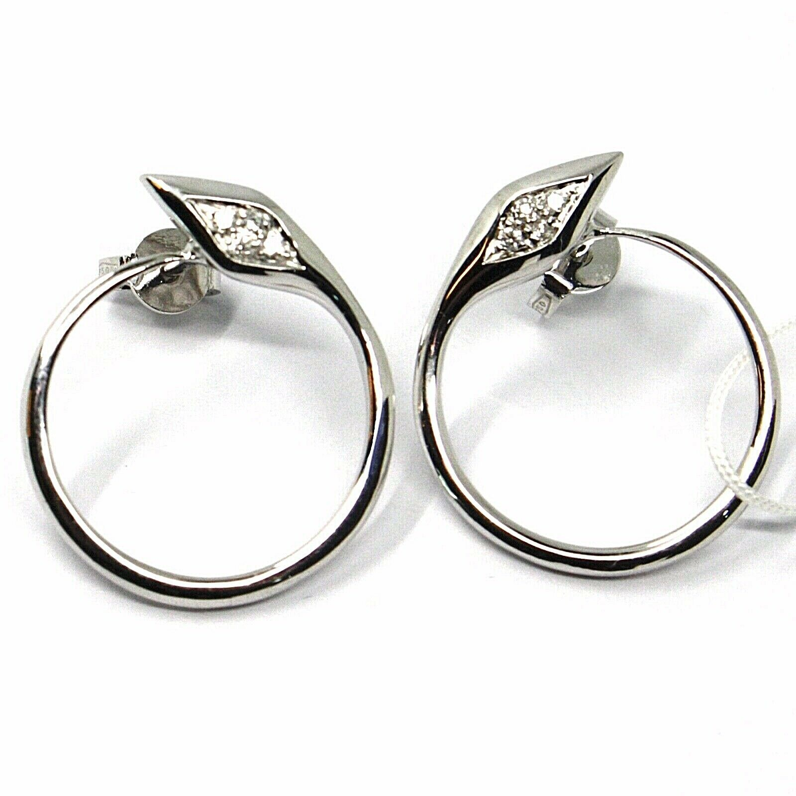 SOLID 18K WHITE GOLD EARRINGS, CIRCLE, SNAKE, WITH DIAMONDS, 20mm DIAMETER