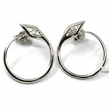 SOLID 18K WHITE GOLD EARRINGS, CIRCLE, SNAKE, WITH DIAMONDS, 20mm DIAMETER image 1
