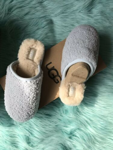 New UGG PEARLE CURLY CUE SHEEPSKIN SLIPPERS, WOMEN US Sz 7 Sky Blue Limited