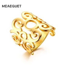 Women Rings Stainless Steel Charm Finger Knuckle Flower Hollow Out Band ... - $9.06