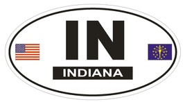 IN Indiana Oval Bumper Sticker or Helmet Sticker D800 Euro Oval with Flags - $1.39+