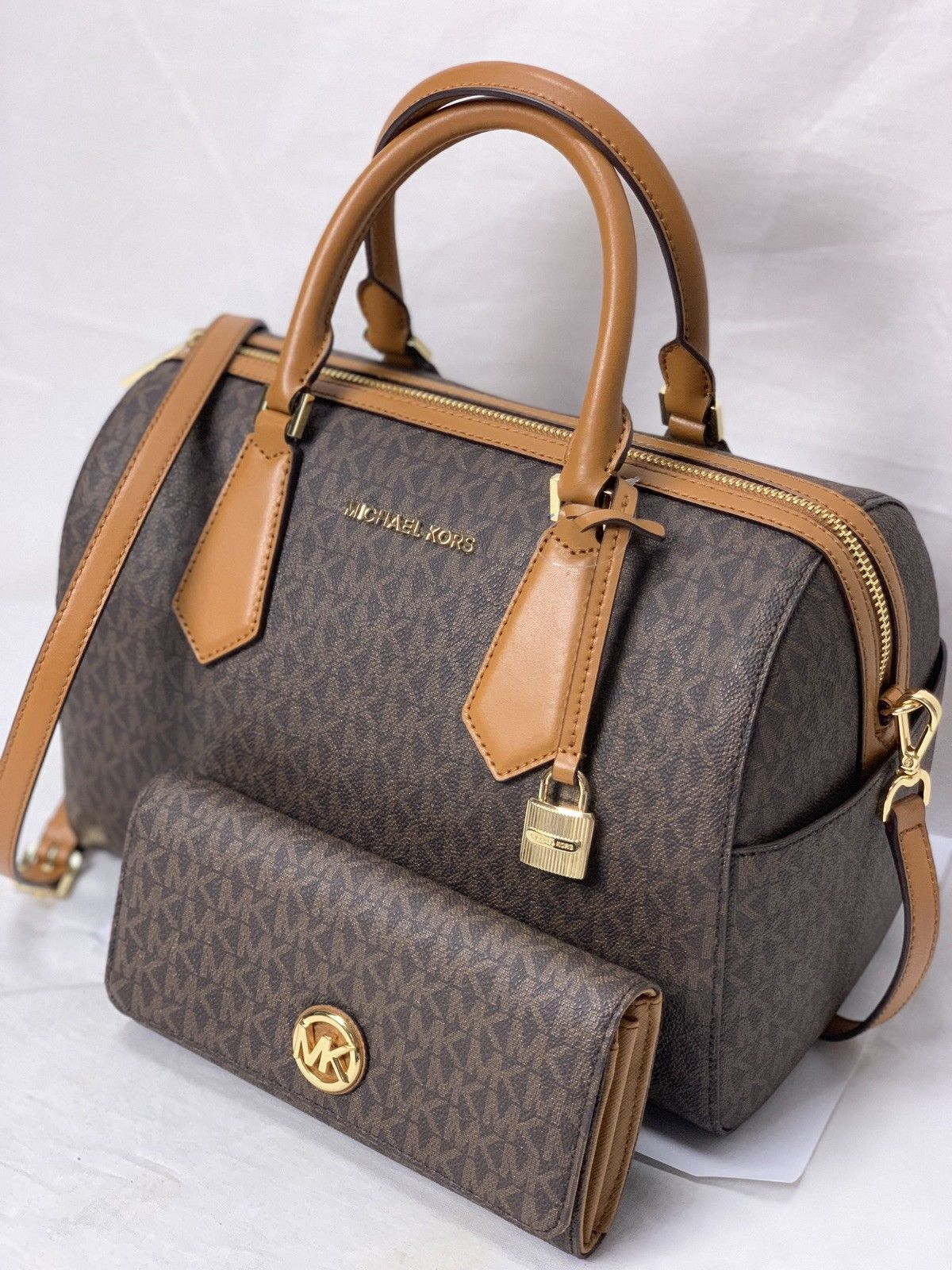 8091ed03b61c8c 57. 57. Previous. Michael Kors Hayes Large Duffle Crossbody Satchel Bag In  Brown+ Fulton Wallet · Michael ...