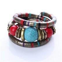 ZOSHI 2017 boho natural green stone beads bracelet&bangles set ethnic ti... - $10.07