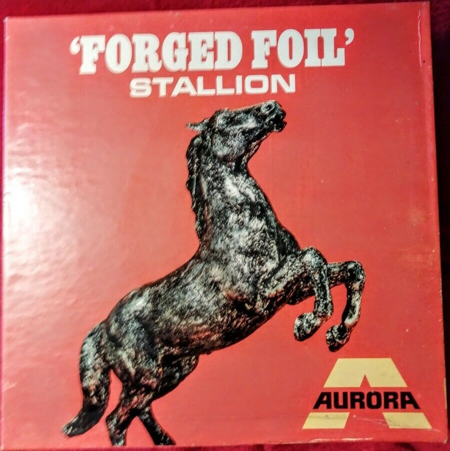 Primary image for VERY RARE!! VINTAGE 1969 AURORA FORGED FOIL STALLION PLASTIC MODEL KIT MIB