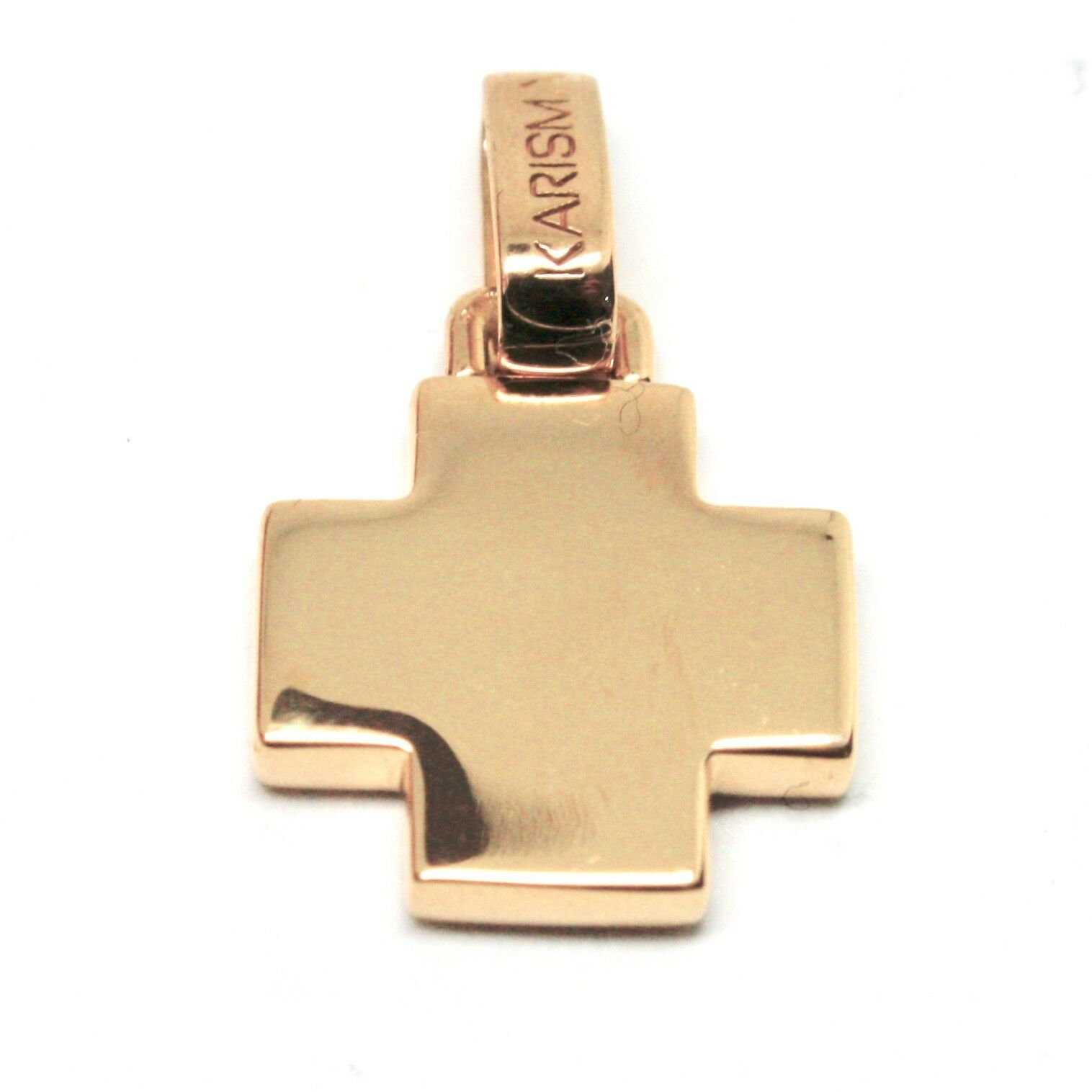Primary image for PENDENTIF CROIX KARISMA OR ROSE 18K 750 AVEC LE DOS PERFORÉ MADE IN ITALY