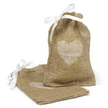 Hortense B. Hewitt Burlap Favor Bags Wedding Accessories, Heart, Set of 25 - $56.14