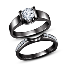 Womens Simple Bridal Diamond Ring Set 14k Black Gold Finish 925 Sterling Silver - $87.99
