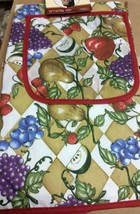 "Printed Kitchen Apron with pocket, 20"" x 30"", GRAPES & FRUITS by CV - $9.89"