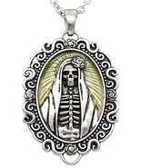 Controse The Madonna Skull Day of Dead Rose Yellow Cameo Pendant Necklac... - $24.00