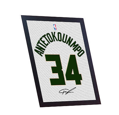 Giannis Antetokounmpo autograph signed printed on CANVAS 100% Cotton Framed