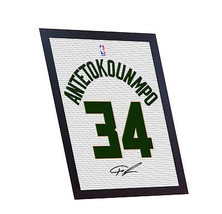 Giannis Antetokounmpo autograph signed printed on CANVAS 100% Cotton Framed - $21.45