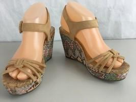 Anne Klein iFlex Wedge Sandle Size 6.5 Faux Suede Upper Sparkle Geom Bottom - $26.68