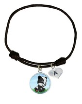 Custom Baby Badger Cub Black Unisex Bracelet Jewelry Gift Choose Initial Charm - $13.94