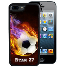 Personalized Rubber Case For I Phone Xr Xs Max X 8 7 6 Plus Flaming Soccer Ball - $13.98